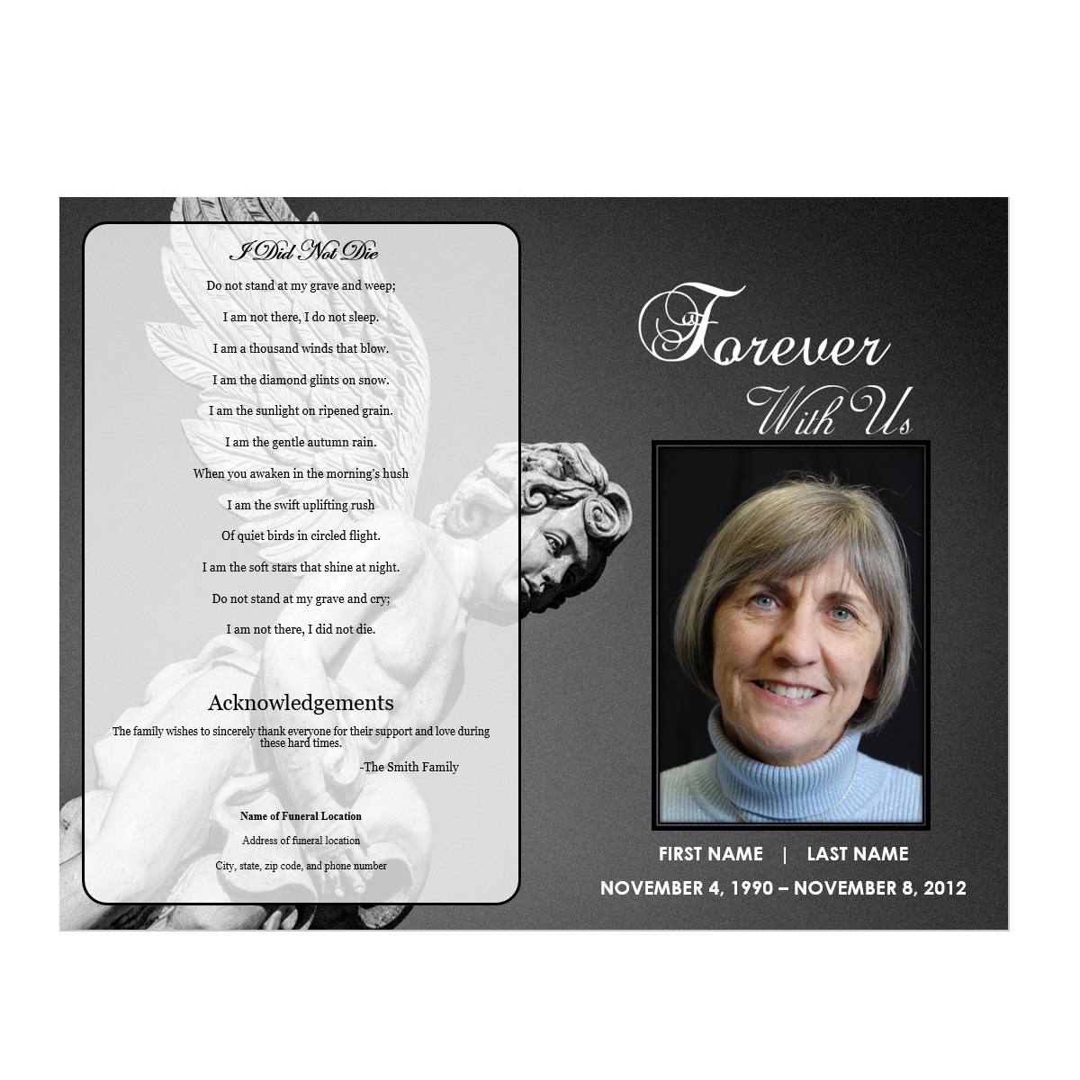 Angel Funeral Template  Free Printable Obituary Program Template