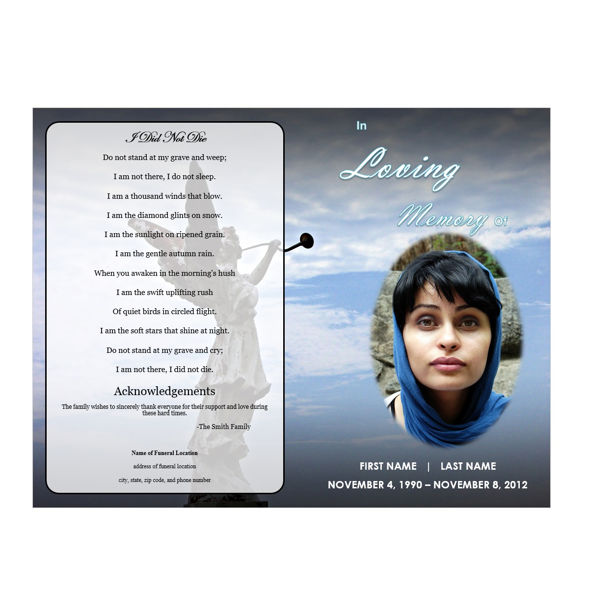Angel Memorial Program - Funeral Pamphlets