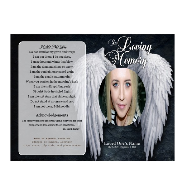 angel funeral program for service