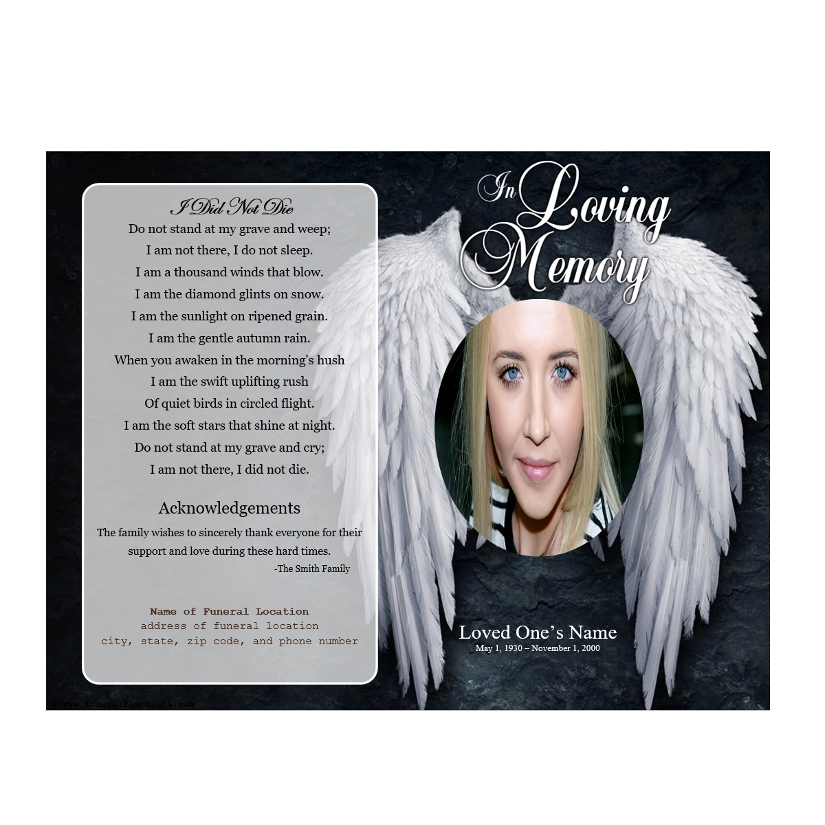 Angel single fold memorial program funeral pamphlets for Memorial pamphlets free templates