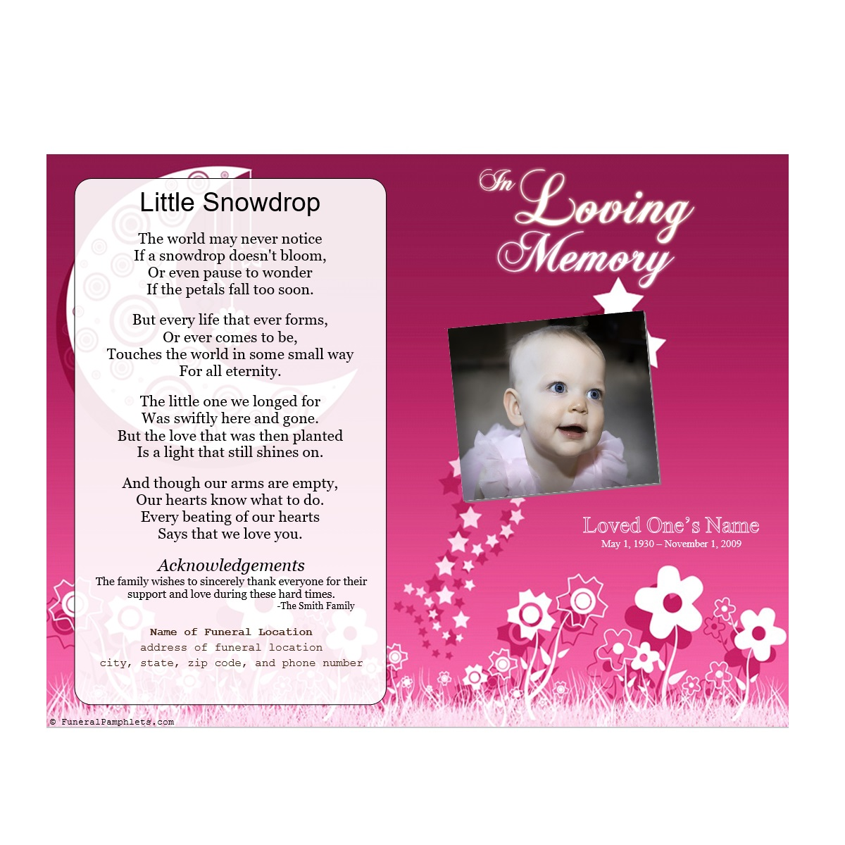 Floral Memorial Program Funeral Pamphlets – Child Funeral Program Template