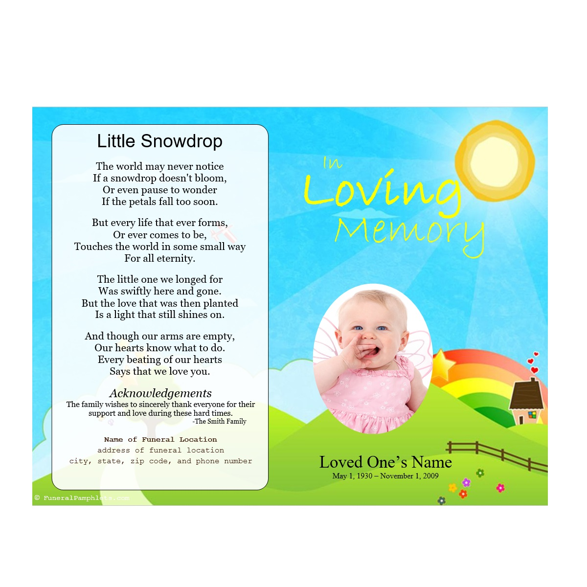 Funeral Program For Baby  Funeral Pamphlet Template Free