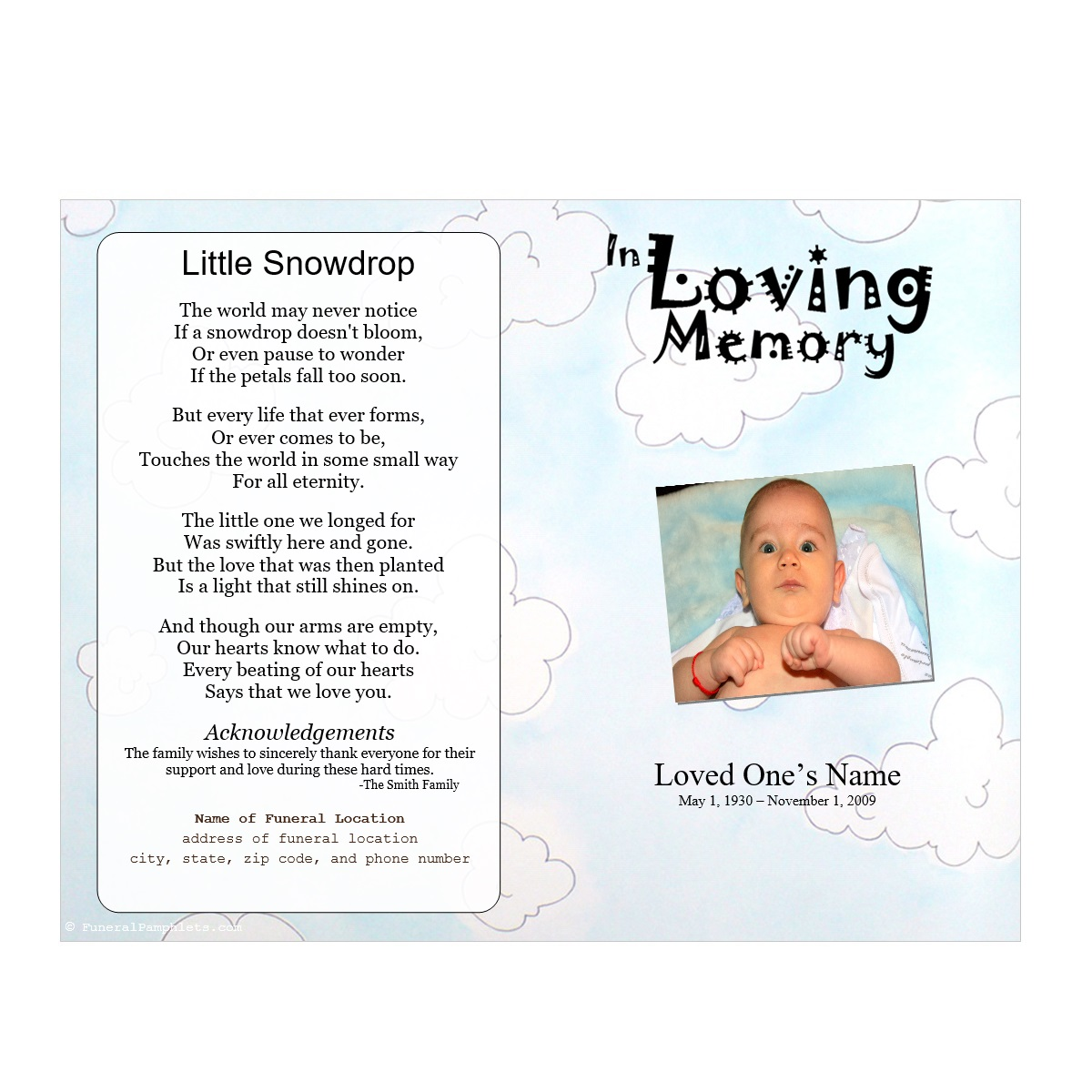 Clouds Youth Memorial Program Funeral Pamphlets – Child Funeral Program Template