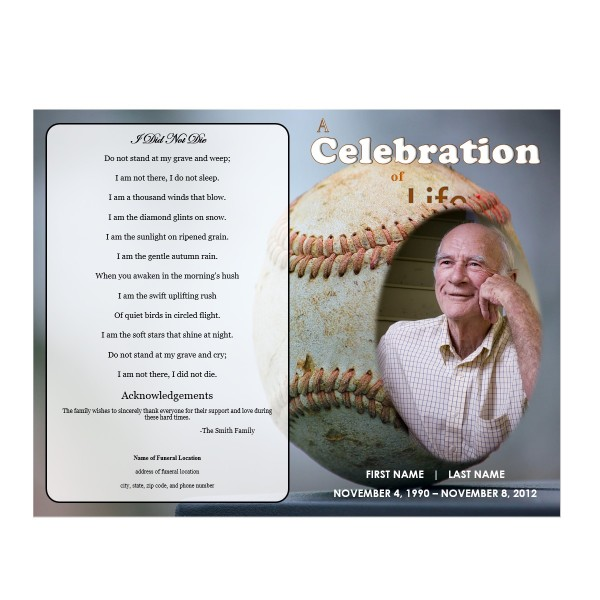 Baseball funeral program funeral pamphlets for Funeral pamphlets templates free