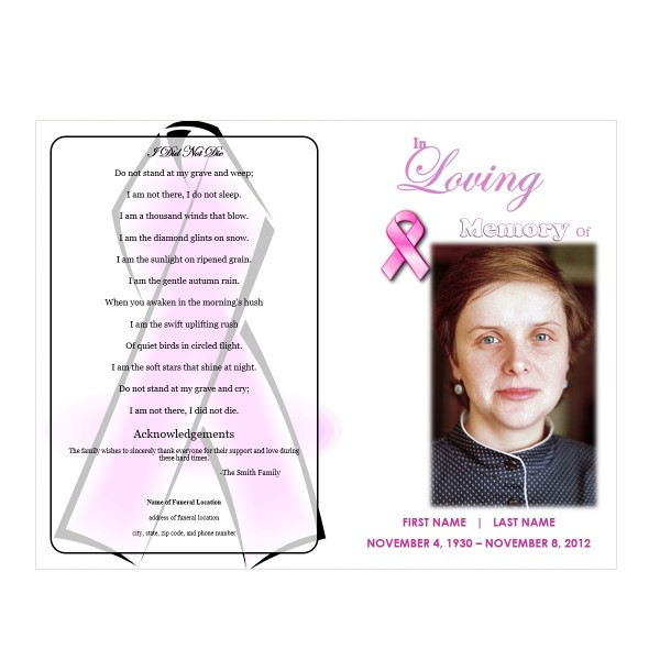 memorial pamphlets free templates - pink ribbon memorial program funeral pamphlets