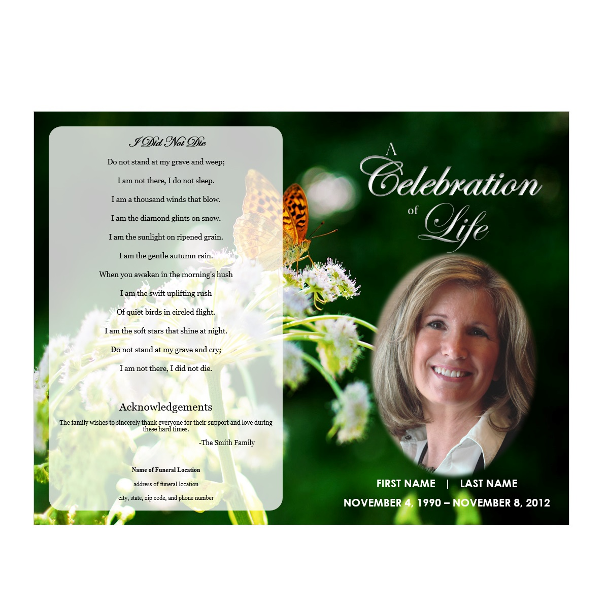 Butterfly memorial program funeral pamphlets for Funeral brochure template