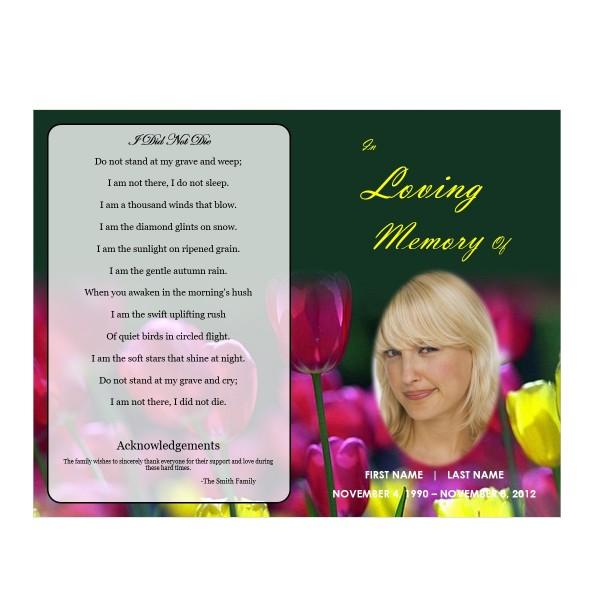 Single fold funeral program