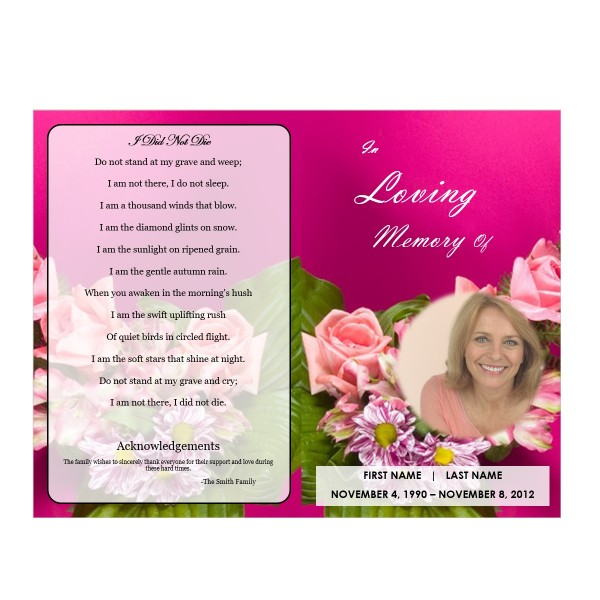 Printable Single Fold Memorial Program Template