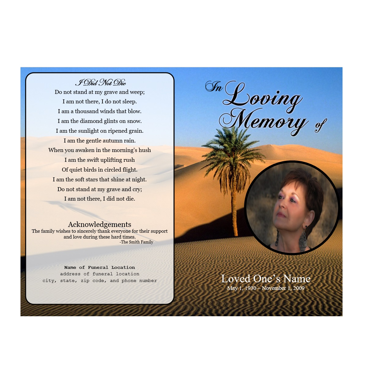 desert single fold memorial program