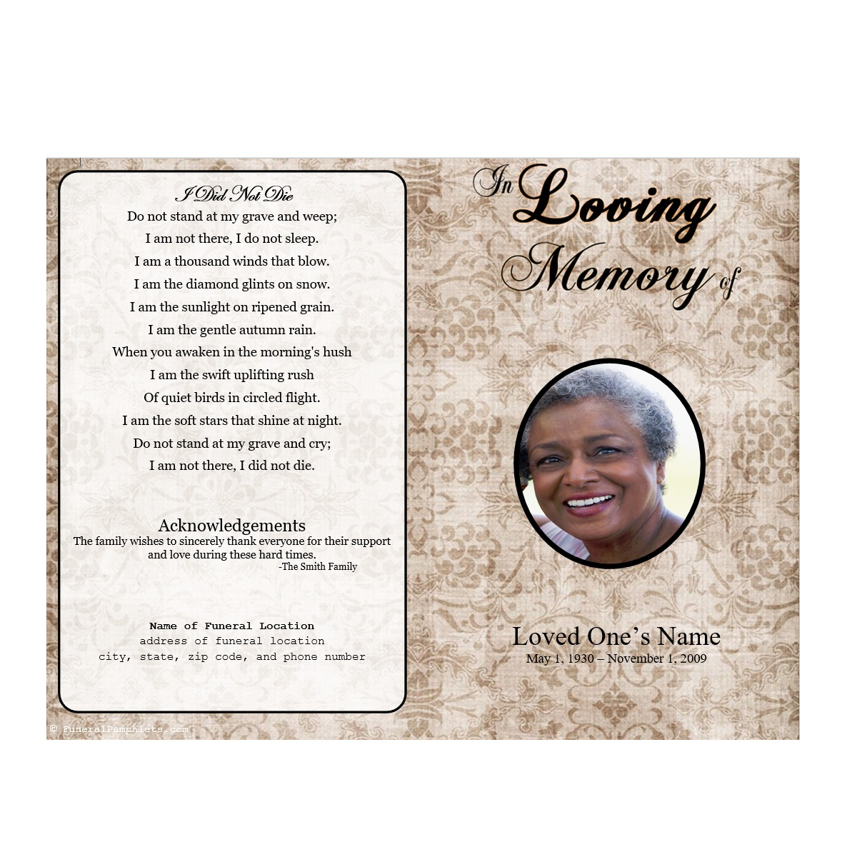 Floral designs single fold memorial program funeral for Free downloadable funeral program templates