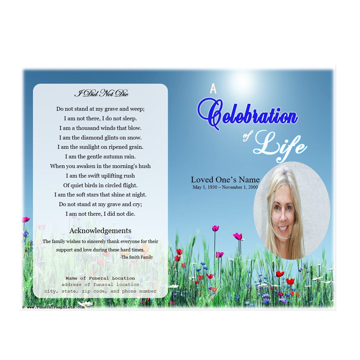Life Single Fold Memorial Program Funeral Pamphlets - Celebration of life template