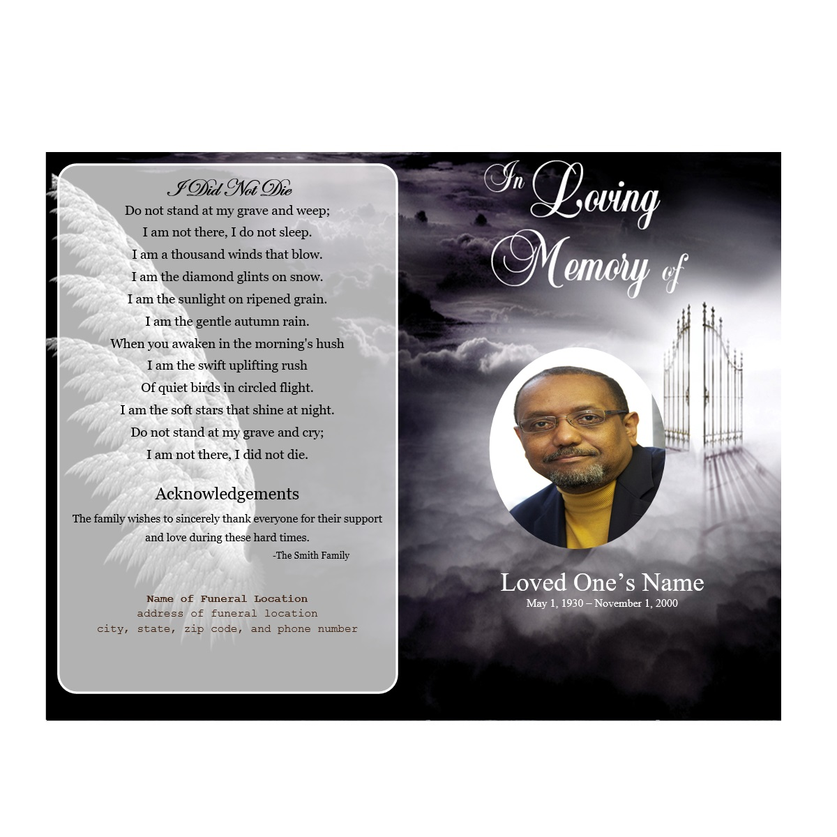 Heaven Single Fold Memorial Program - Funeral Pamphlets