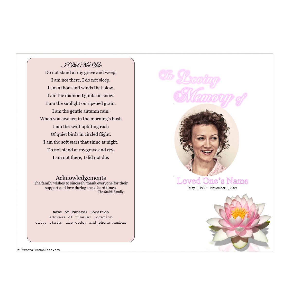 Lily single fold memorial program funeral pamphlets for Memorial pamphlets free templates