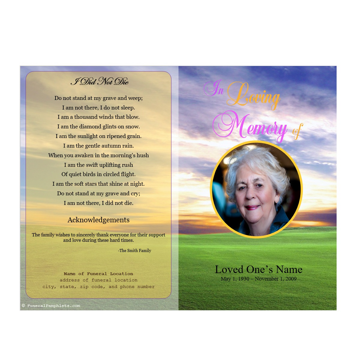Meadow memorial program funeral pamphlets for Memorial pamphlet