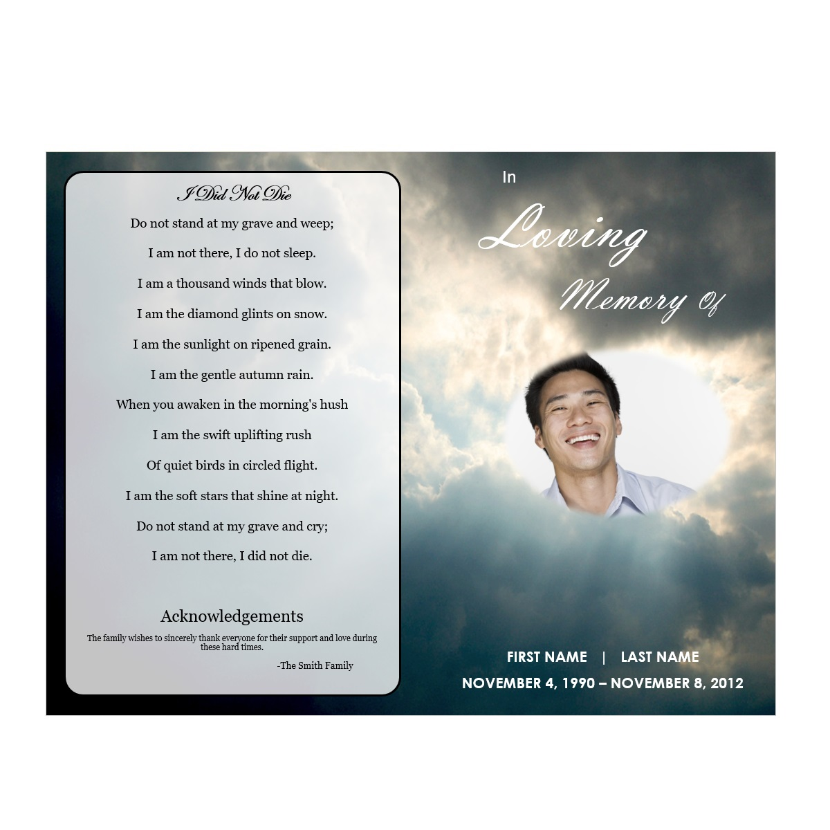 Buy Funeral Programs  Free Templates For Funeral Programs