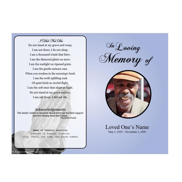 Prayer single fold memorial program funeral pamphlets for Memorial pamphlets free templates
