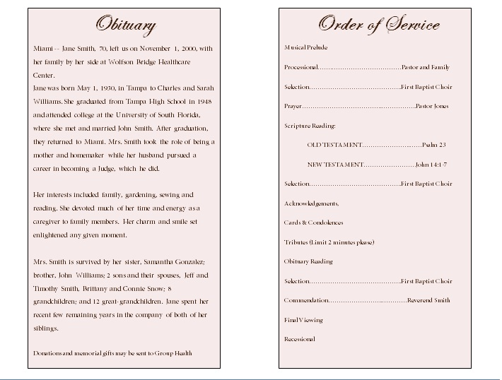 Rose single fold memorial program funeral pamphlets for Obituary template word document
