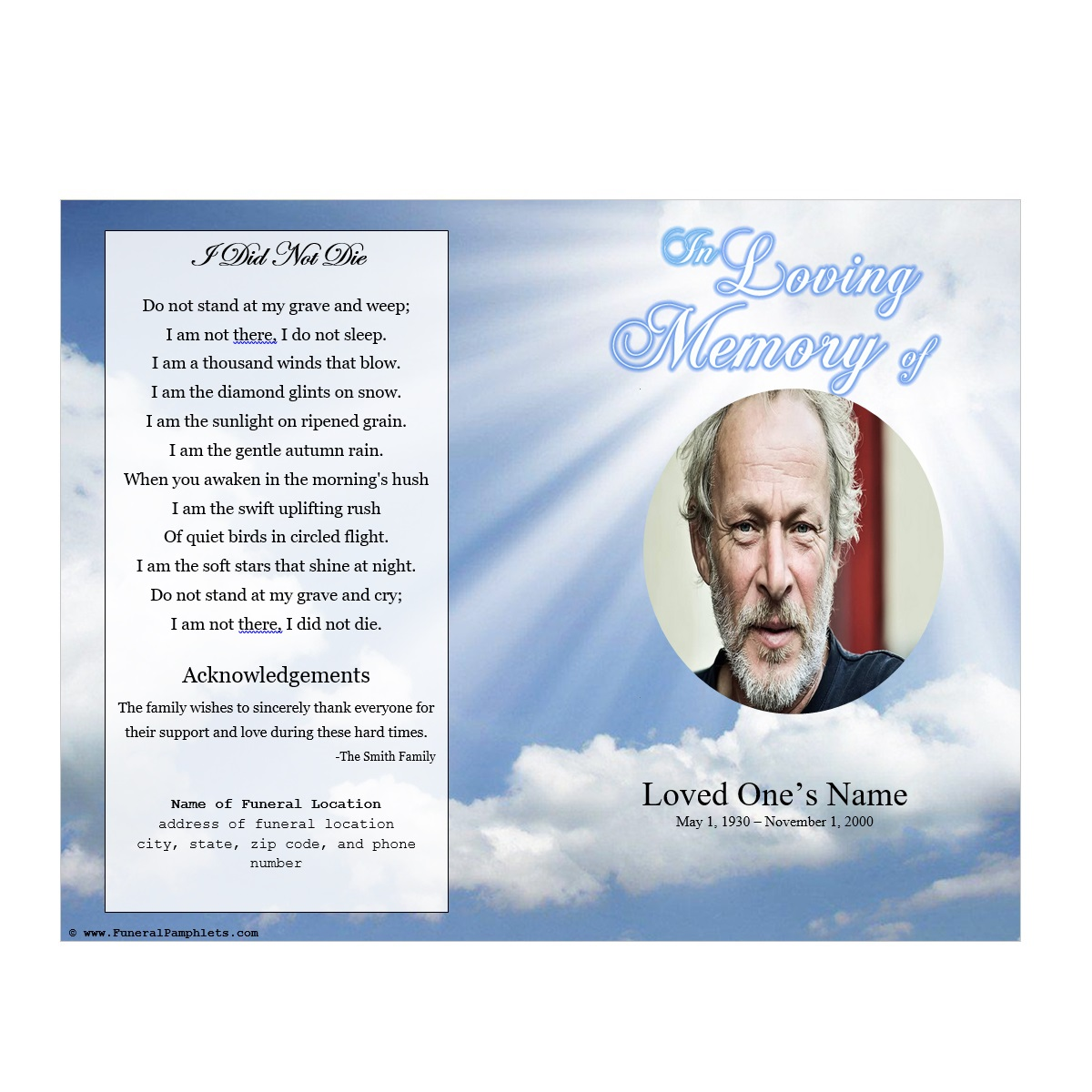 Sky memorial program funeral pamphlets for Memorial pamphlets free templates