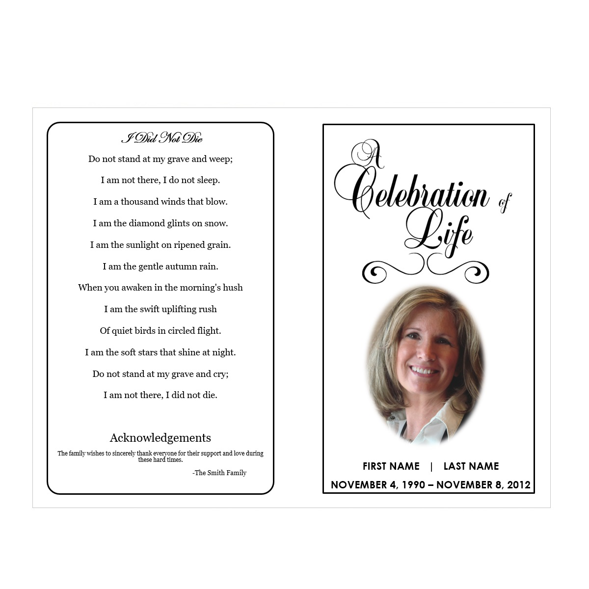 Celebration of life funeral pamphlets for Free downloadable funeral program templates
