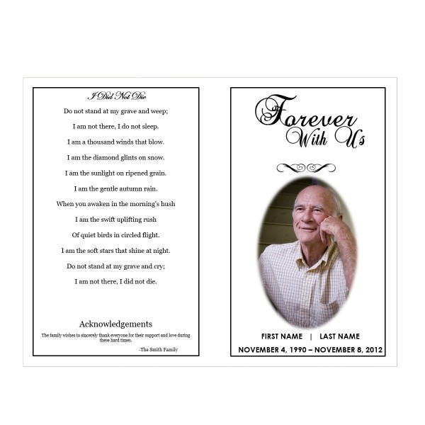 Forever with us funeral pamphlets for Memorial pamphlets free templates