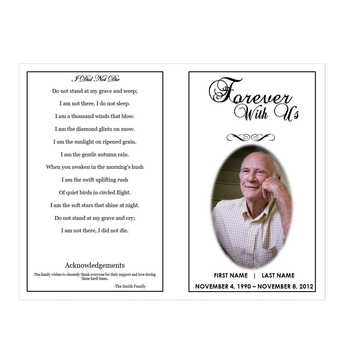 Funeral Program Templates  Memorial Pamphlet Template Free