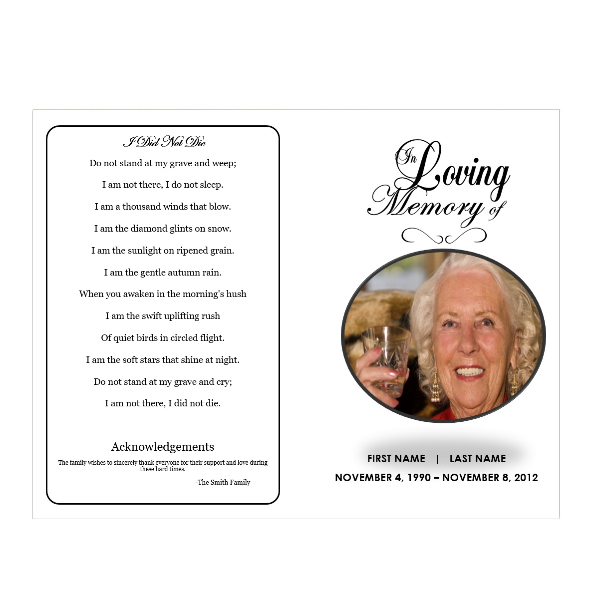 Traditional Funeral Template For Microsoft Word  Free Obituary Program Template