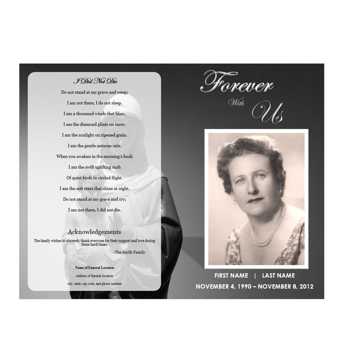 Virgin Mary Funeral Program Template  Memorial Pamphlet Template Free