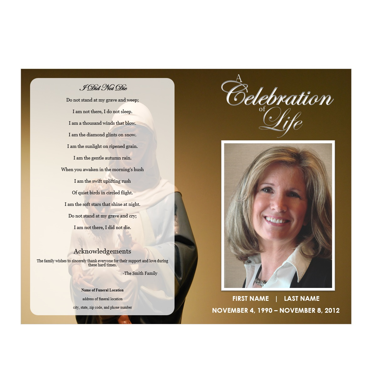 Virgin Mary Funeral Program Funeral Pamphlets - Celebration of life template