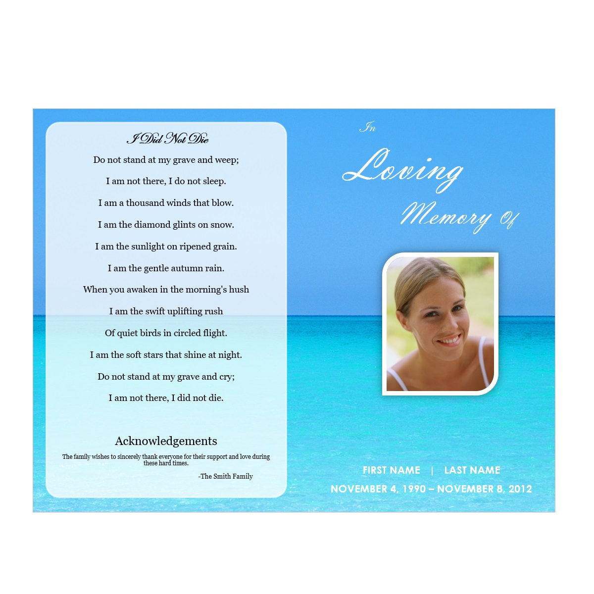 Printable Obituary Template Microsoft Word · Ocean Funeral Obituary Program  ...  Free Funeral Program Template Microsoft Word