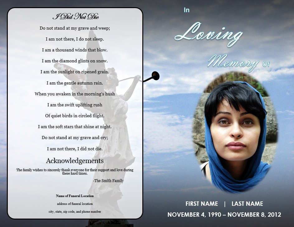 funeral pamphlets templates free - angel memorial program funeral pamphlets
