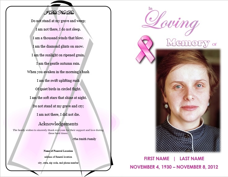 Pink Ribbon Memorial Program  Funeral Pamphlets