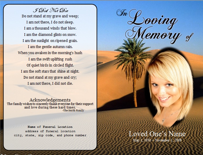 Soft image within free printable memorial cards