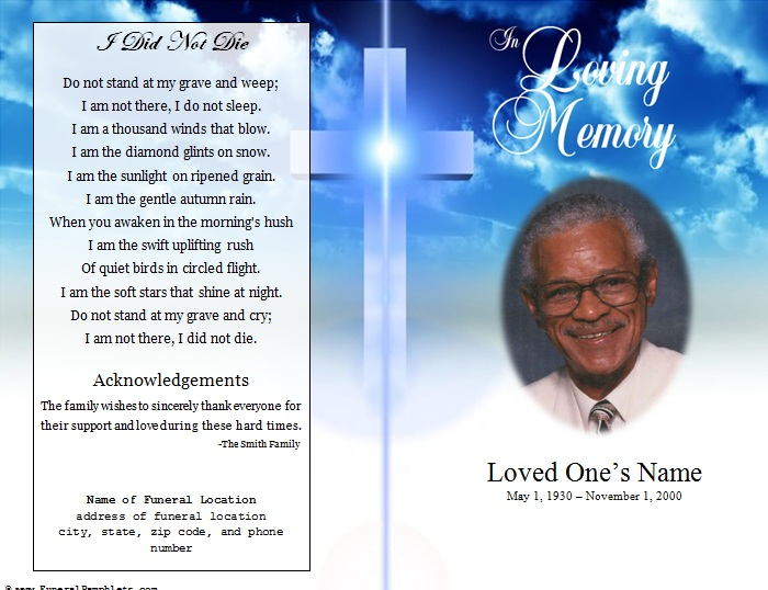 Cross single fold funeral program funeral pamphlets for Free memorial bookmark template download