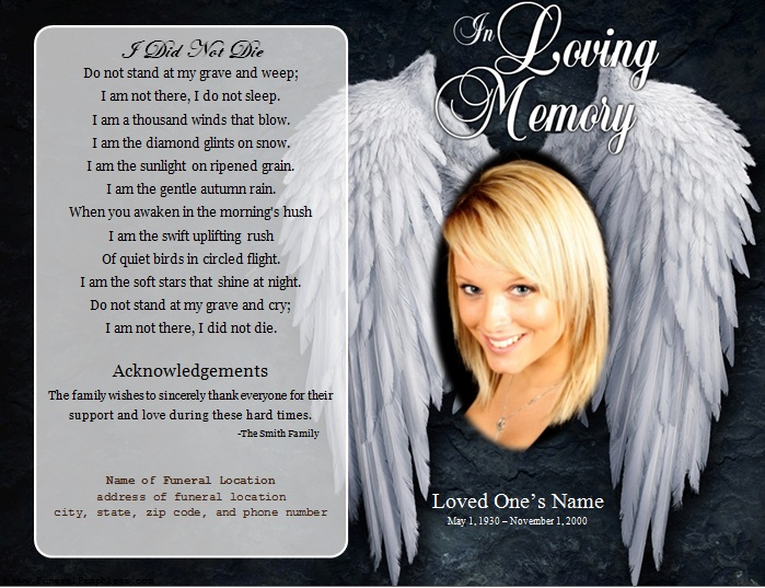 Angel Single Fold Memorial Program Funeral Pamphlets – Free Memorial Program Template