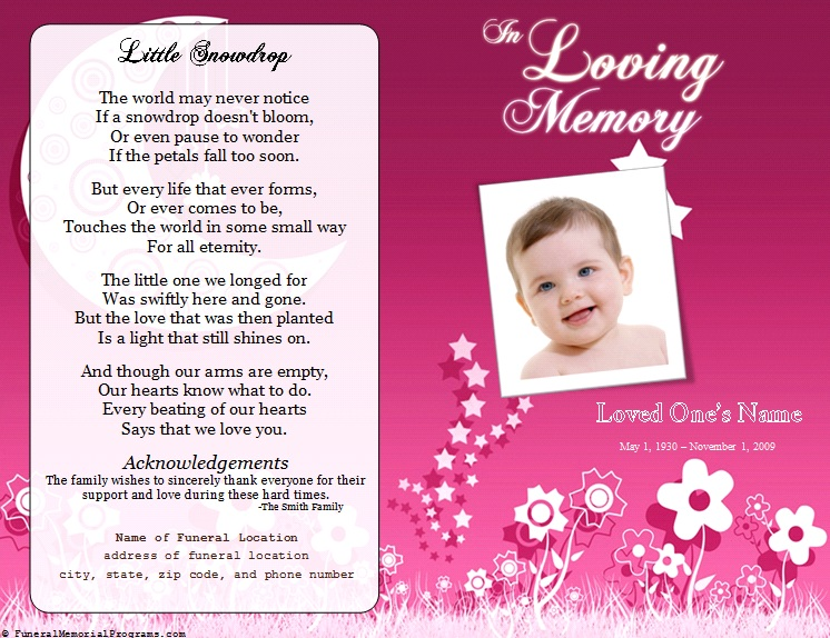 Floral Memorial Program  Funeral Pamphlets