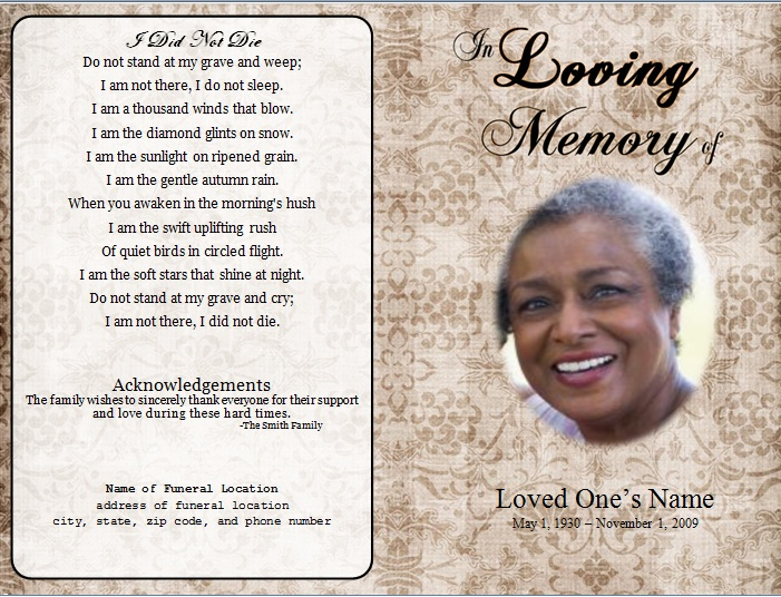 Floral Designs Single Fold Memorial Program Funeral Pamphlets – Funeral Program Templates Microsoft Word