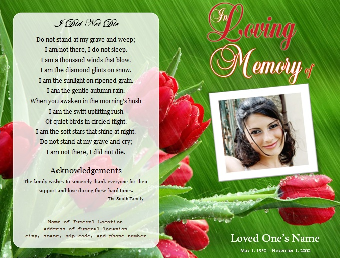 Roses single fold memorial program funeral pamphlets for Memorial pamphlets free templates