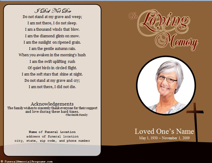 Single fold cross memorial program funeral pamphlets for Memorial pamphlets free templates