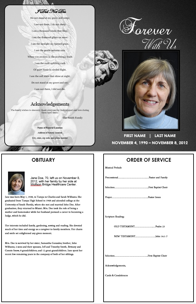 funeral pamphlets templates free - angel funeral program funeral pamphlets