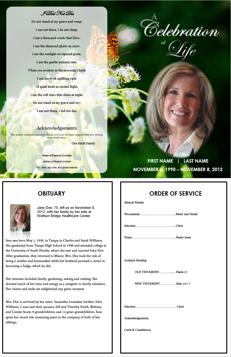 Butterfly memorial program funeral pamphlets for Obituary pamphlet template