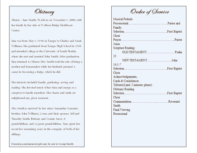 Catholic Funeral Program Obituary Order Of Service  Order Of Service Template Free