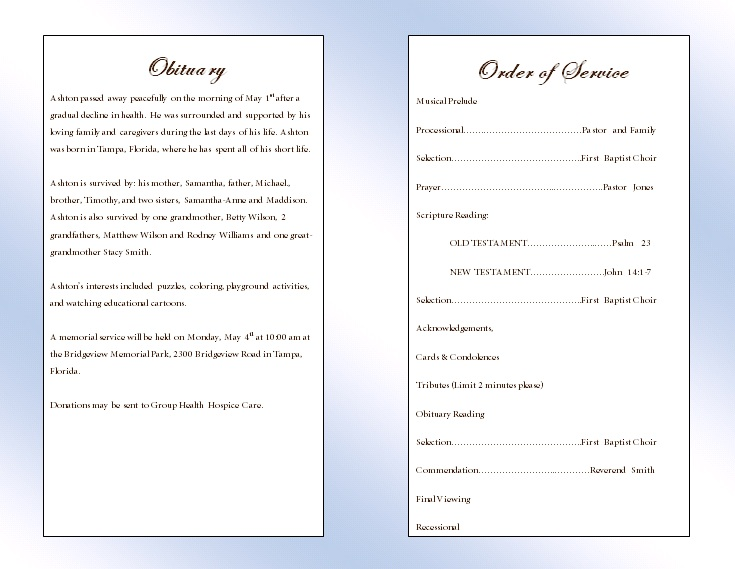 Clouds Youth Memorial Program  Funeral Pamphlets