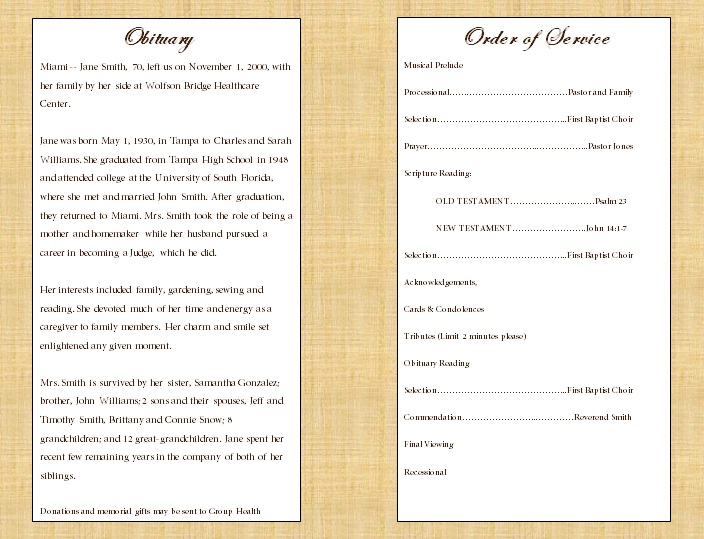 Single Fold Cross Memorial Program - Funeral Pamphlets