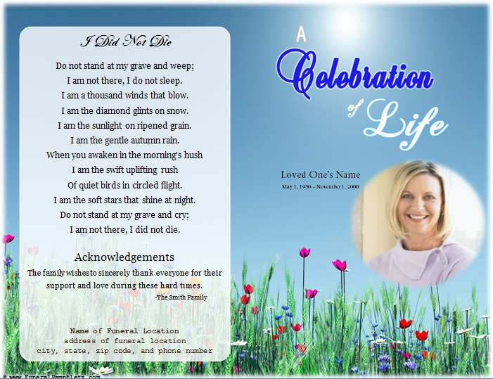 Life single fold memorial program funeral pamphlets for Free downloadable funeral program templates