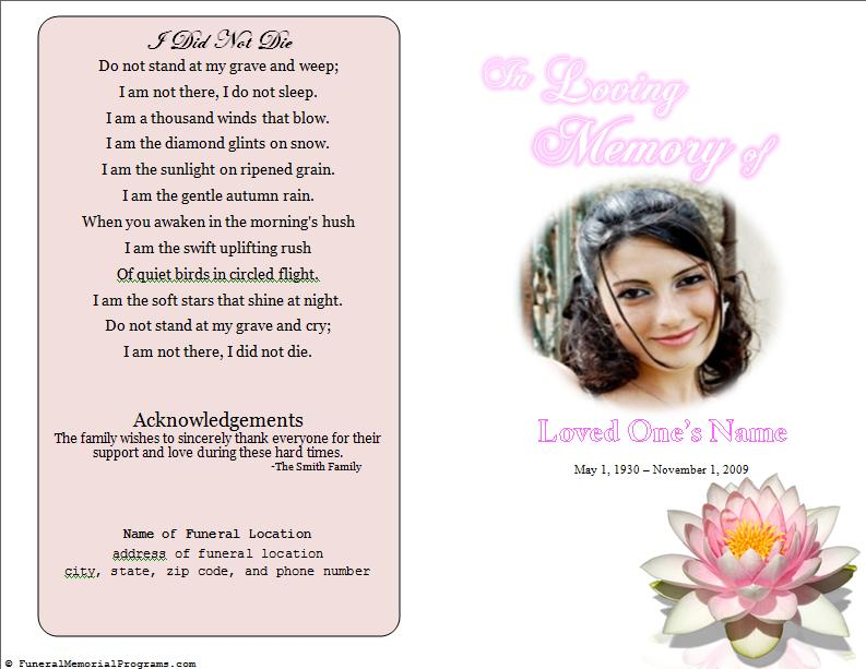 Lily Single Fold Memorial Program - Funeral Pamphlets
