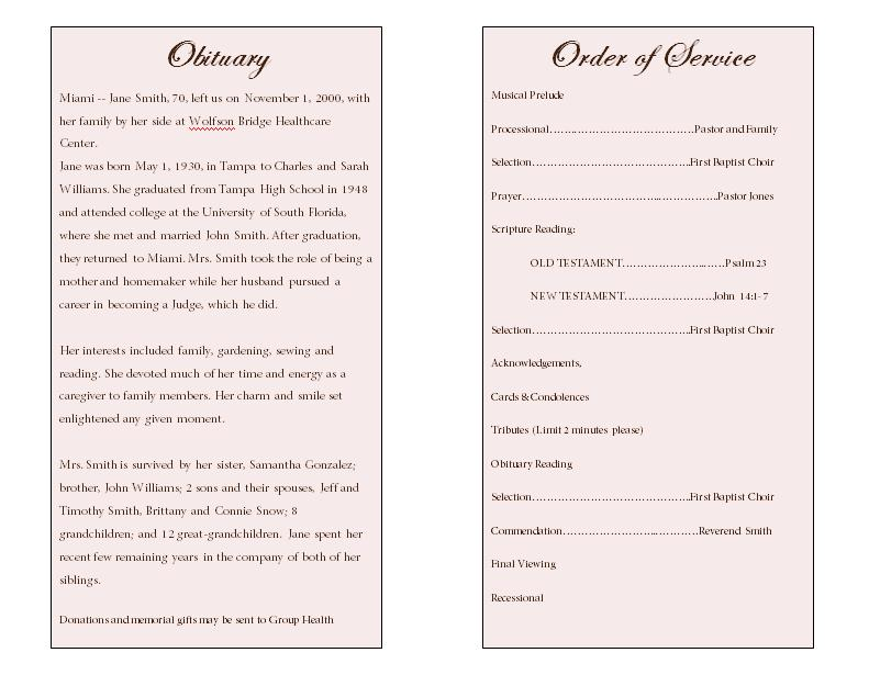 lily obituary template