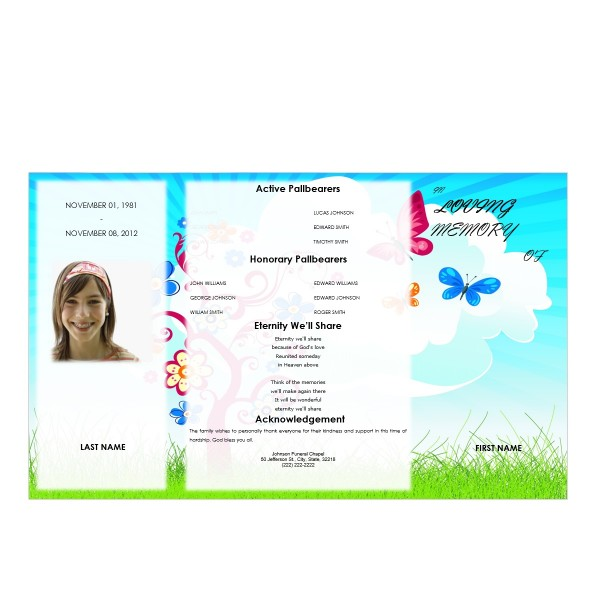 youth gatefold funeral program template microsoft word