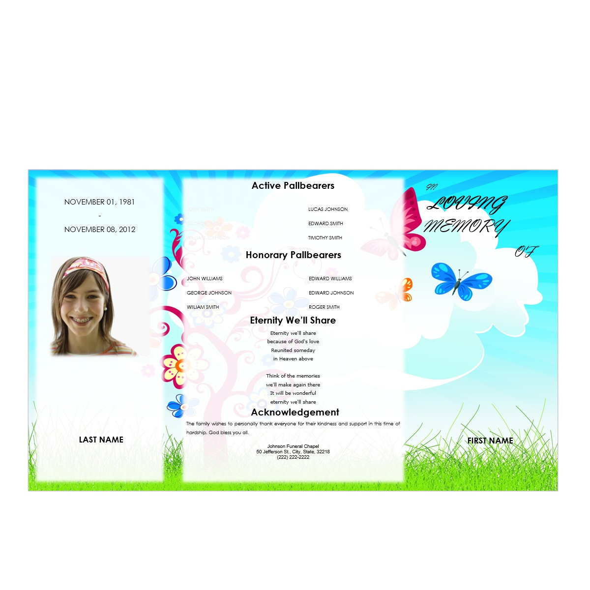 Butterflies Youth Gatefold Program - Funeral Pamphlets