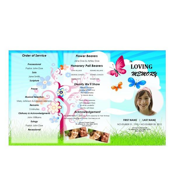 gatefold funeral program for kid