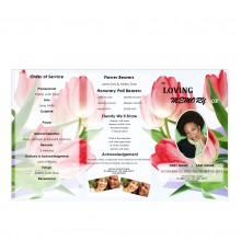 Floral Tri Fold Collage Funeral Program Template